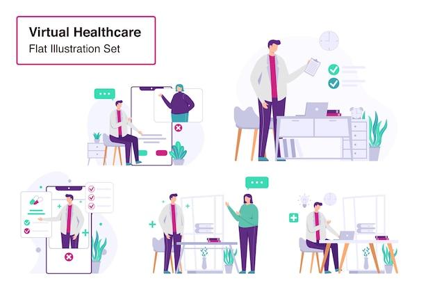 Santé virtuelle définie illustration plate