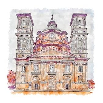Santuario di vicoforte italie croquis aquarelle illustration dessinée à la main