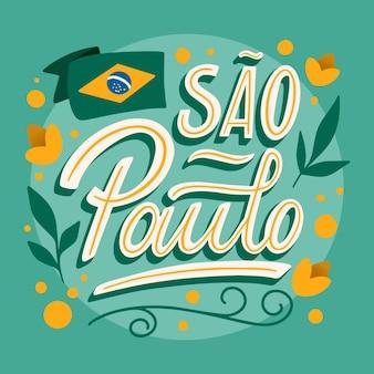 Sao paulo avec lettrage drapeau et fleurs