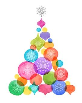 Sapin de noël avec des boules, décoration de noël aquarelle couleurs vibrantes