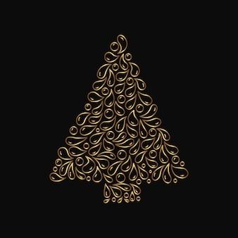 Sapin de noël décoratif en or. épinette de vecteur avec des éléments d'art de la ligne doodle. sapin dessiné à la main isolé sur fond noir.