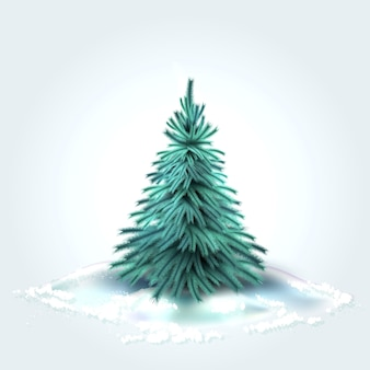 Sapin de noël d'épinette avec des aiguilles vertes réalistes avec de la neige d'hiver