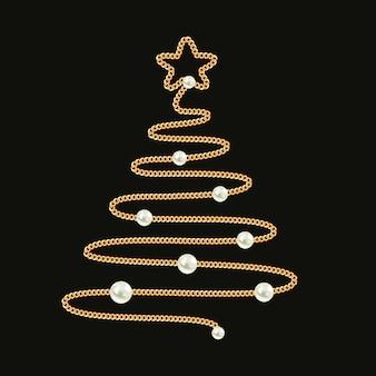 Sapin de noël fait avec une chaîne en or et des perles.