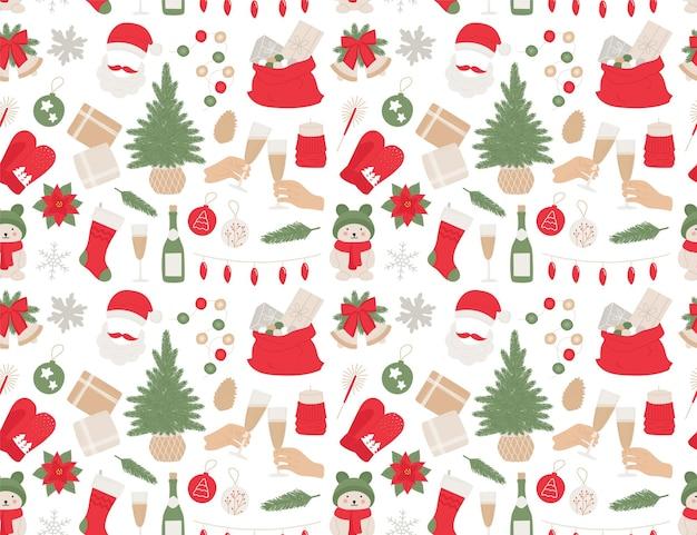 Sapin de noël motif nouvel an seamles, cloches, boule, champagne, cadeaux, guirlande pour impression, textile