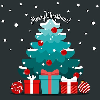 Sapin de noël et objet festif décoratif. joyeux noel et bonne année.
