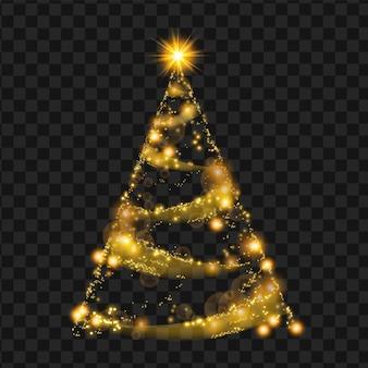 Sapin de noël or vecteur sparkle décoration étoile pin vacances abstraites sur fond transparent