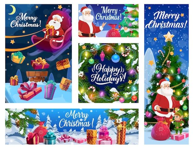Sapin de noël santa et bannières de cadeaux du nouvel an des vacances d'hiver de noël