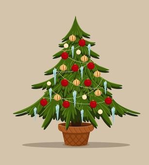 Sapin stylisé de dessin animé avec l'arbre de noël de jouets dans le pot décoré de boules de pile icecle et guirlande