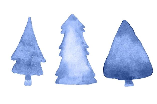 Sapins bleus abstraits à l'aquarelle. vecteur