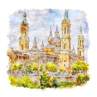 Saragosse espagne croquis aquarelle illustration dessinée à la main