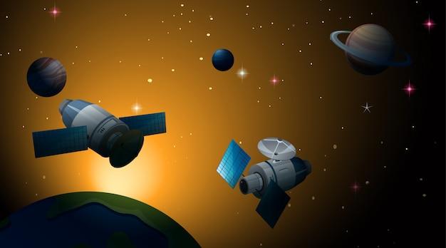 Satellite dans la scène de l'espace ou de fond