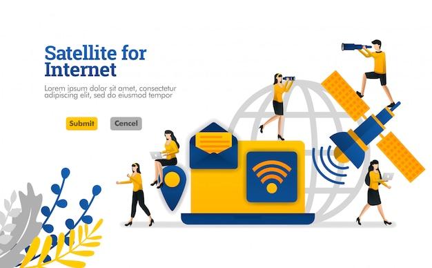 Satellite pour les objets de l'internet et les besoins quotidiens et numériques d'affaires illustration vectorielle