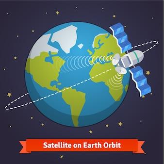 Satellite de télécommunication sur la terre