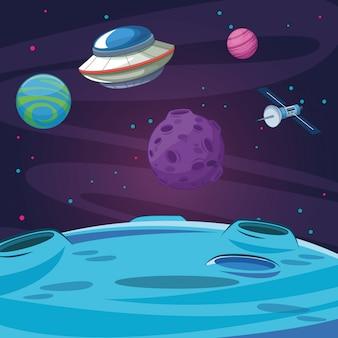 Satellite ufo planètes lunaires galaxie exploration spatiale