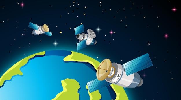 Satellites autour de la scène de la terre