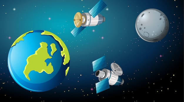 Satellites autour de la scène terrestre