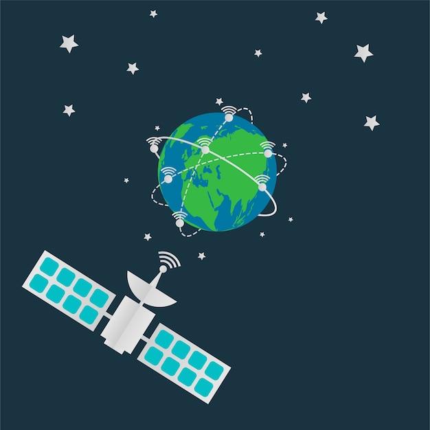 Satellites en orbite antenne terrestre tournent autour du monde.