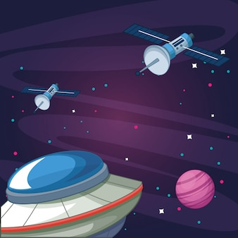 Satellites ovni planète galaxie étoilée exploration spatiale illustration vectorielle