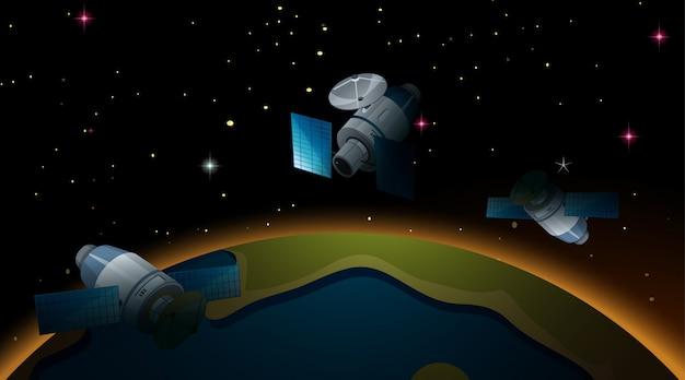 Satellites volant autour de la terre