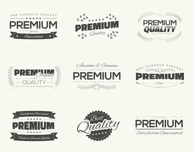 Satisfaction garantie vintage premium qualité noir vecteur étiquettes et badges ensemble et isolement de la collection.