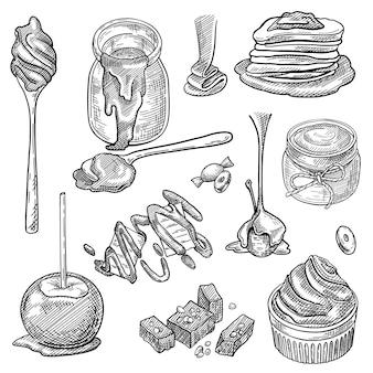Sauce au caramel liquide en pot, cuillère, bonbons au caramel, éclaboussures, pomme, ensemble de dessert cupcake