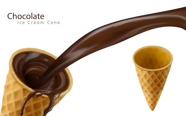 Sauce au chocolat versée dans un cornet de crème glacée vide