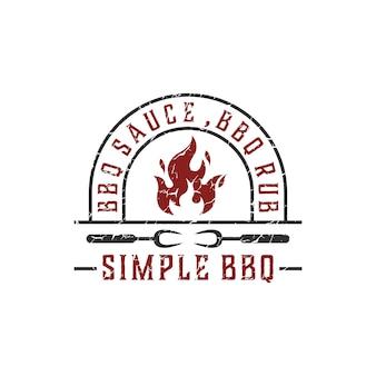 Sauce bbq, modèle de logo vintage bbq