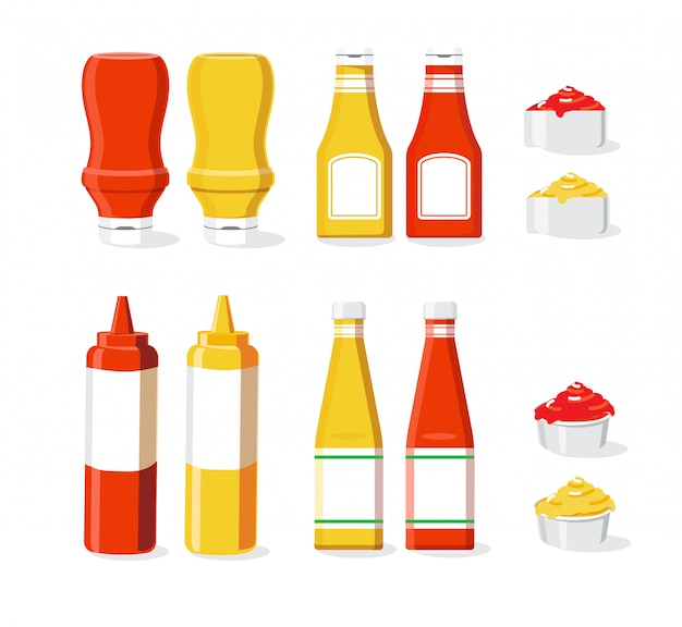Sauce set illustration isolé fond blanc