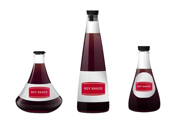 Sauce sushi asiatique de soja dans une bouteille en verre. éléments réalistes pour l'icône et le design de la nourriture