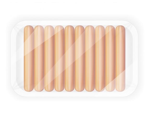 Saucisse dans l'illustration vectorielle paquet