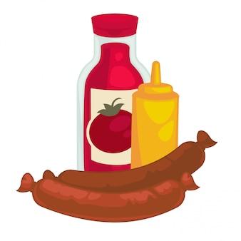 Saucisse à la moutarde et bouteille de ketchup ou de sauce