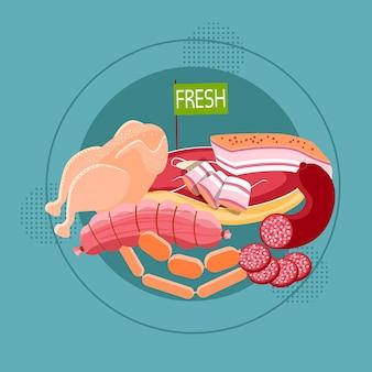 Saucisse de viande fraîche collection de produits alimentaires