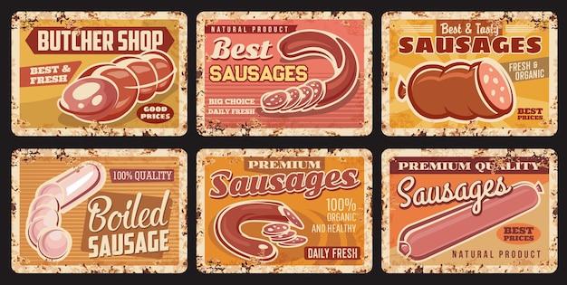 Saucisses, boucherie produits alimentaires plaques rouillées en métal