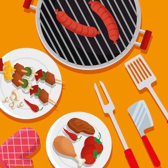 Saucisses avec cuisse et viande préparée barbecue
