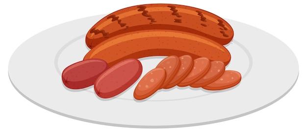 Saucisses grillées sur plaque ronde