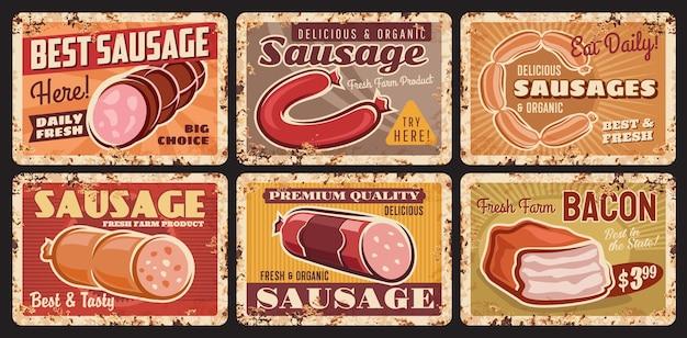 Saucisses, plaques de bacon de ferme de viande, plaques de métal rouillé de magasin de viande biologique