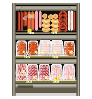 Saucisses et saucisses de francfort sur le comptoir du magasin au réfrigérateur. vente de produits carnés dans un plateau.