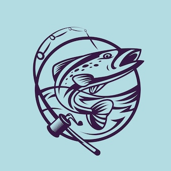 Saumon avec canne à pêche. art conceptuel de la pêche dans un style monochrome.