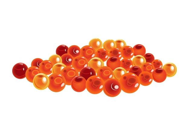 Saumon. caviar rouge isolé sur fond blanc. illustration vectorielle de fruits de mer crus. produit réaliste d'une alimentation saine.