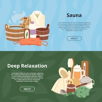 Sauna en bois chaleur spa thérapie de relaxation et vapeur chaude toile de fond de soins de santé relax thérapie signe seau serviette de bain illustration relax aromathérapie ensemble fond