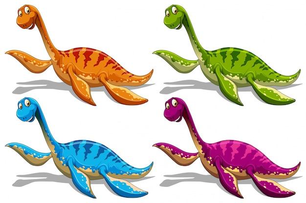 Sauropodes En Quatre Couleurs Différentes Vecteur Premium