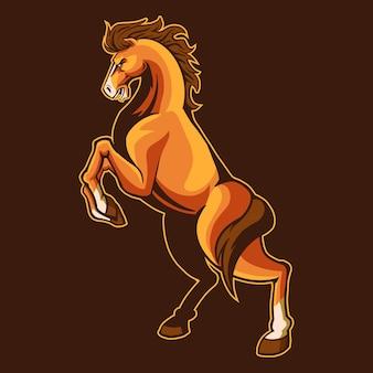 Saut de cheval sauvage isolé sur brun