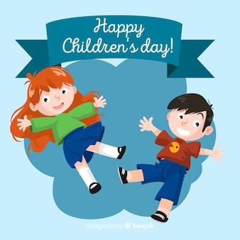 Saut d'enfants fond pour les enfants