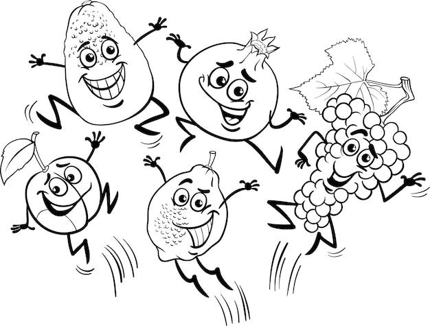 Saut de fruits dessin animé livre de coloriage