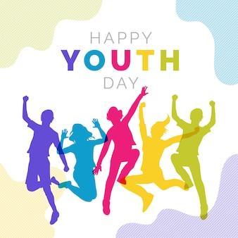 Saut de silhouettes de personnes le jour de la jeunesse