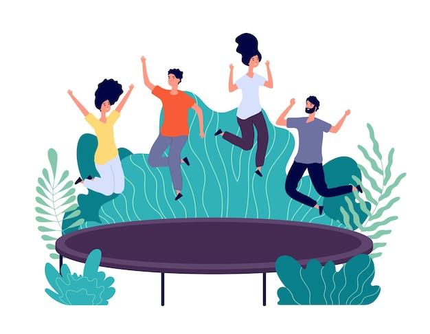 Saut de trampoline. les jeunes gens heureux sautent, l'activité des adolescents.