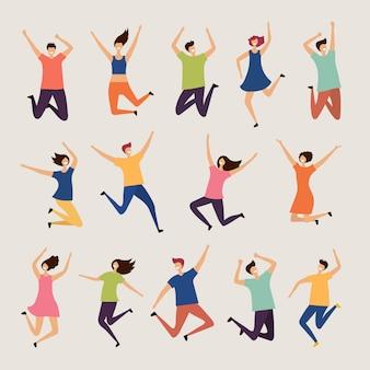 Sauter les gens. jeunes et adultes rire heureux groupe de personnages à plat