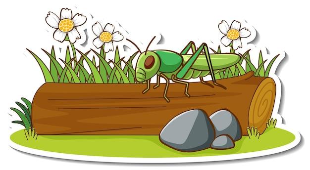 Une sauterelle debout sur une bûche avec un autocollant d'élément de nature