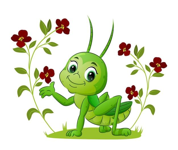 La sauterelle mignonne se tient sur le champ de l'illustration de fleurs