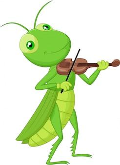 Sauterelle avec un violon